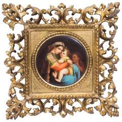 "19th Century Berlin Plaque ""Madonna Della Sedia"" Florentine Frame Signed"