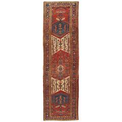 Antique Heriz Northwest Persian Runner, Handmade Rug Navy Blue, Red, Ivory