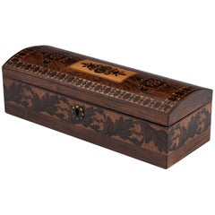 Tunbridge Ware Antique Glove Box with Floral Band, 19th Century