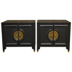Pair of James Mont Style for Century Furniture Lacquer Nightstands