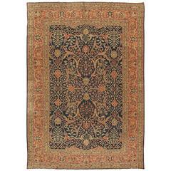 Antique Fine Persian Tabriz Carpet, Handmade Oriental Rug, Beige, Navy, Coral