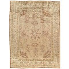 Antique Angora Oushak, Handmade Turkish Oriental Rug, circa 1890s, Soft
