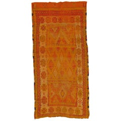 Vintage Moroccan Rug, Handmade, Distressed, Worn, Great Colors and Design