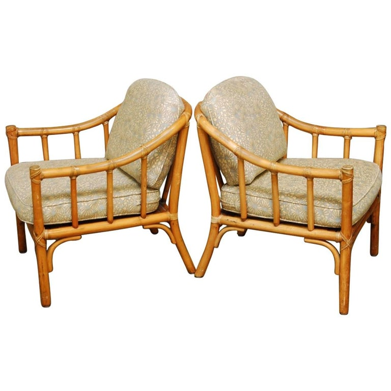 Pair of Organic Modern Bamboo Lounge Chairs by McGuire For Sale