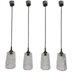 Lot of Four Kalmar Textured Glass Kitchen Island Pendant Lights