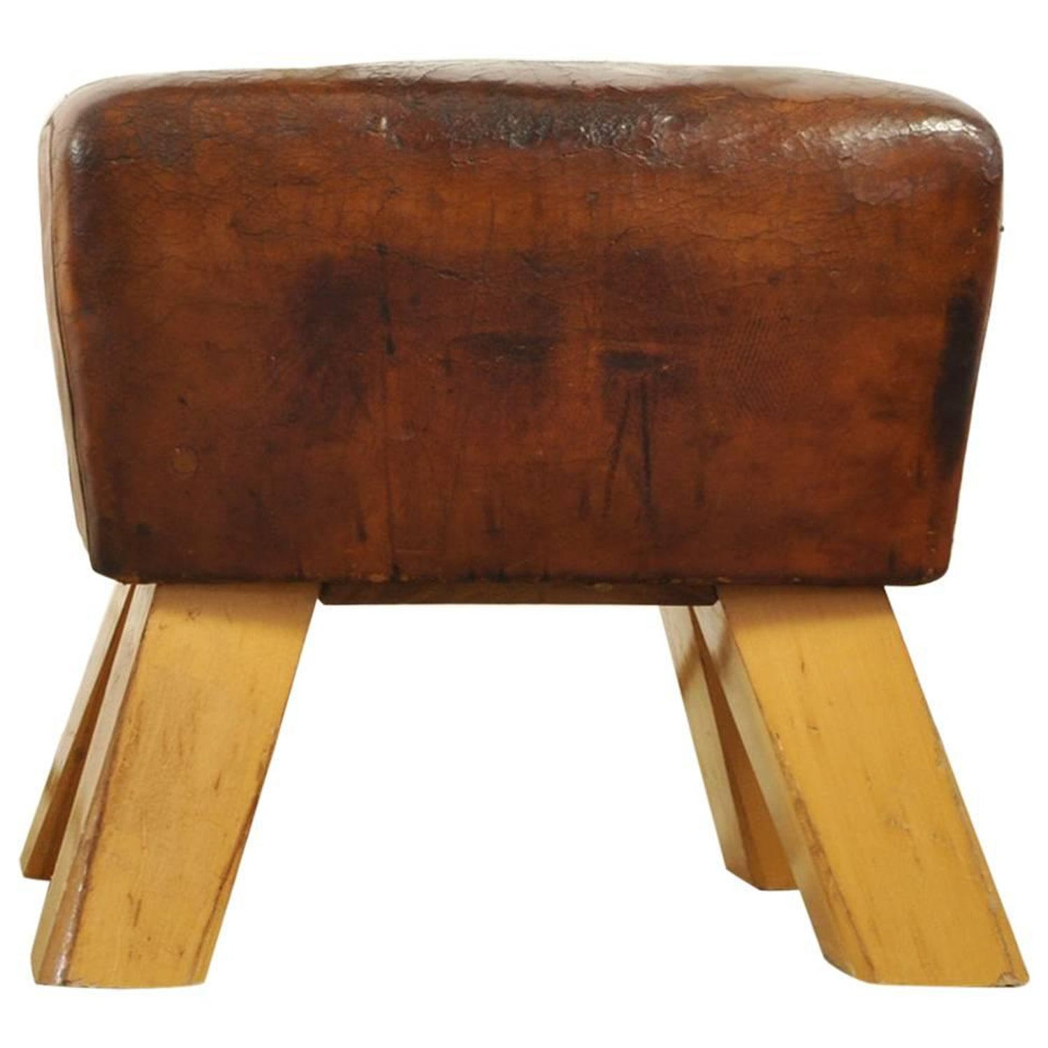 Jens risom floating bench for sale at 1stdibs - Small Vintage Reclaimed Leather Pommel Horse Bench