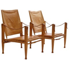 Pair of Kaare Klint Safari Chairs in Tan Leather, Made by Rud Rasmussen, Denmark
