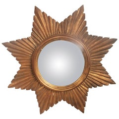 French Convex Sunburst Gilded Mirror