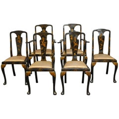 Set of Six Queen Anne Style Chinoiserie Lacquer Dining Chairs