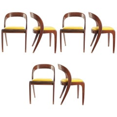 Rare Set of Six Chairs in the Style of Baumann, Probably France, 1960s