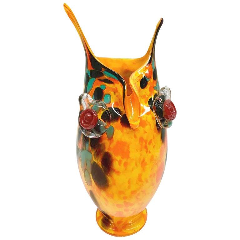 Large Murano Swirl Art Glass Owl Vase 1970s Style For Sale