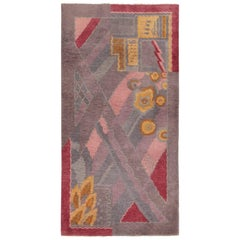Small Geometric Vintage Chinese Art Deco Rug