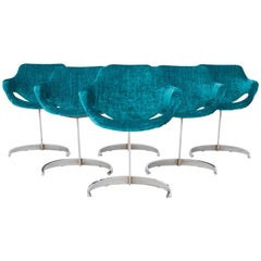 Boris Tabacoff Scimitar Dining Chairs in Blue Petrol Velvet