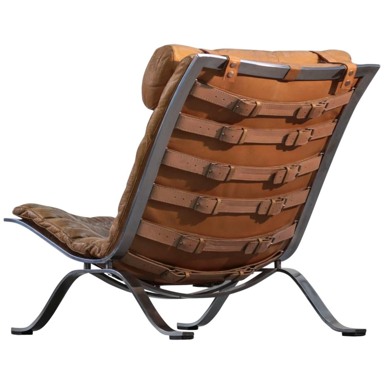 Ari Lounge Chair by Arne Norell Leather, 1960s, Sweden