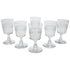 Set of Six Edwardian Wine Glasses, circa 1905