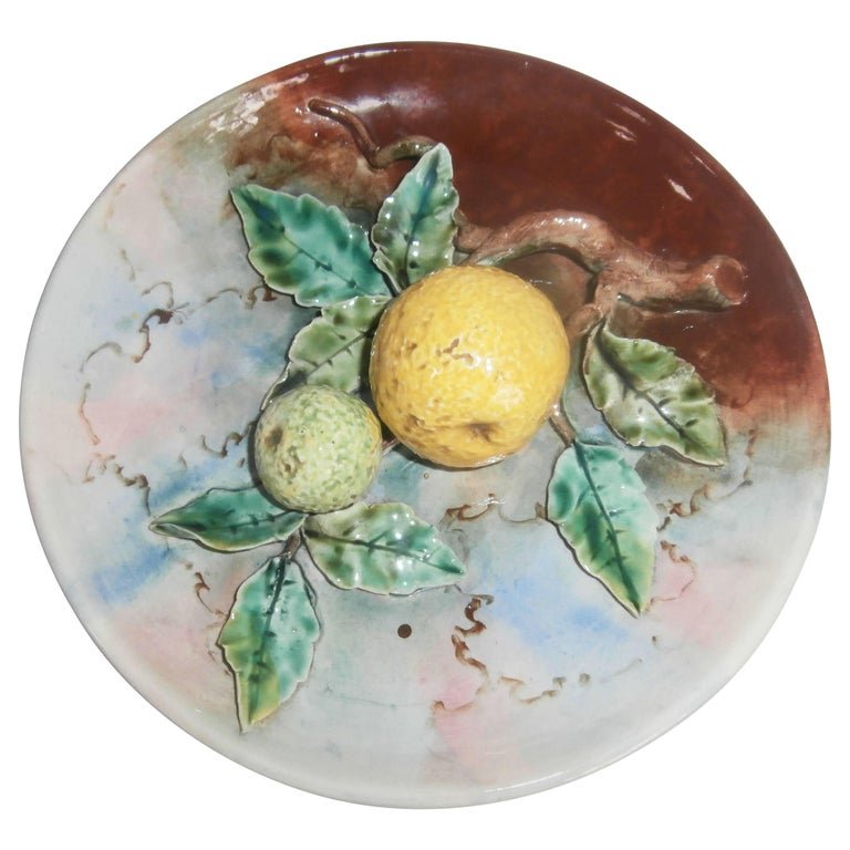 Majolica Grapefruit Wall Plate Fives Lille, circa 1880 For Sale