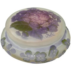 Emile Galle Cameo Glass Lidded Powder Box, circa 1900