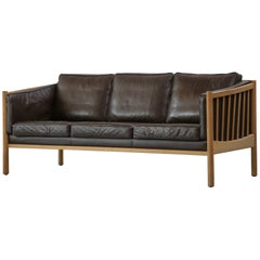 Scandinavian Sofa Brown Leather and Oak, 1970s