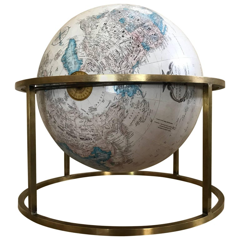 Mid Century Modern Paul Mccobb Style Replogle Desk Globe For