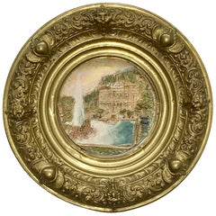 19th Century Faience and Brass Framed Castle Linderhof Wall Plaque