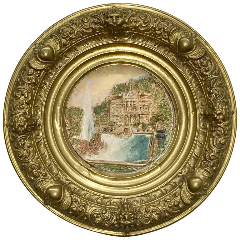 19th Century Faience and Brass Framed Castle Linderhof Wall Plaque - Germany For Sale