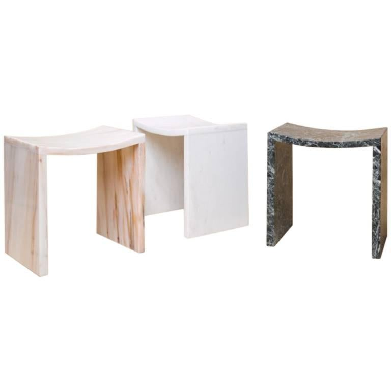 Bent Stool by Objects of Common Interest, Solid Marble For Sale