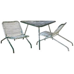 1950s Low Patio Set 'Table and Two Chairs'