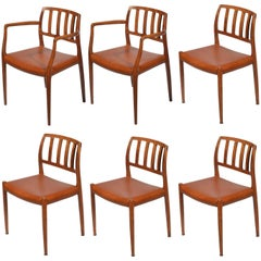 Niels Otto Møller Rosewood and Leather Dining Chairs, Models 66 & 83, Set of Six