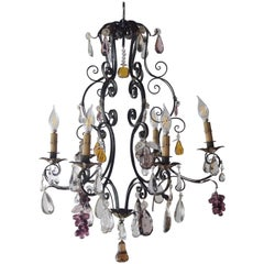 Antique French Iron Six-Light Chandelier with Fruits and Clear Crystal Pedants