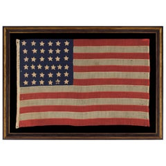 37 Single Appliqued Stars on an Antiques American Flag