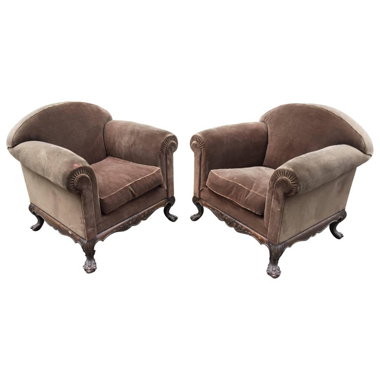 Pair of Style Queen Anne Armchairs, circa 1930