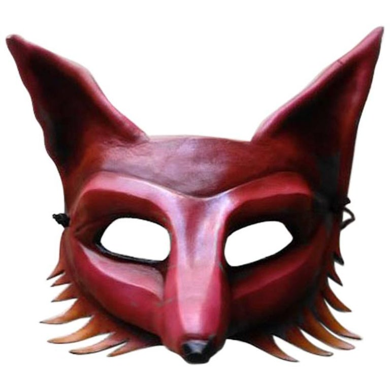 Fiery Leather Fox Mask For Sale