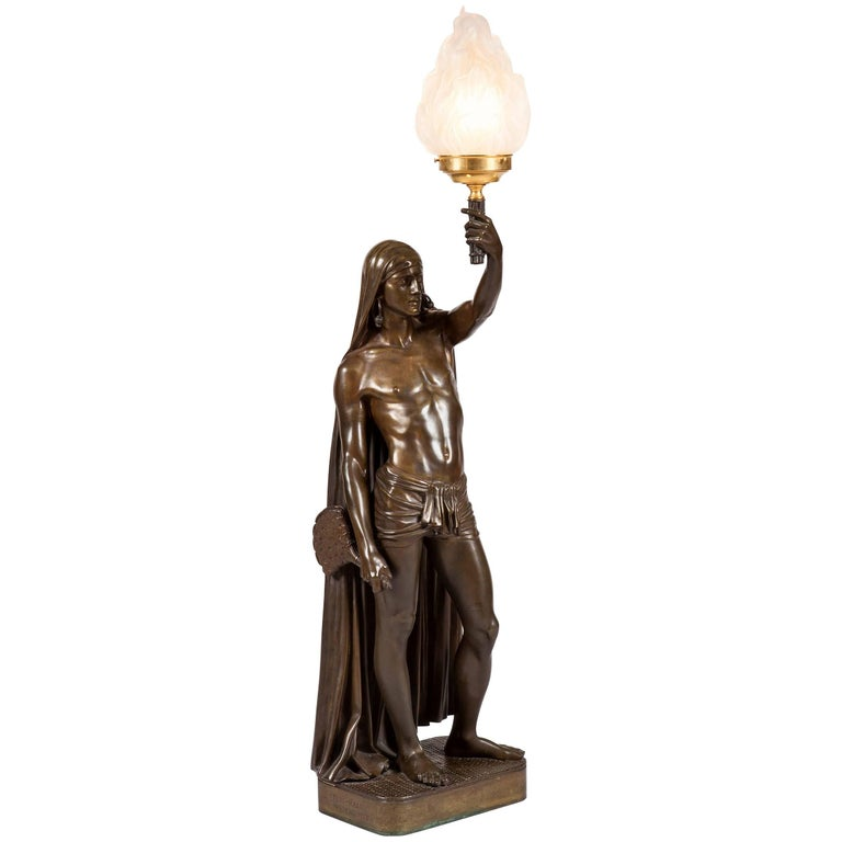 19th Century French Bronze Lamp of Male Indian Figure