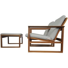 Børge Mogensen Oak Lounge Sled Chairs and Footstool Designed 1956 for Frederica