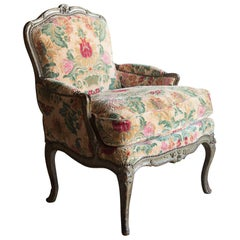 Louis XV Carved Rococo Painted Bergére or Armchair, France, circa 1760