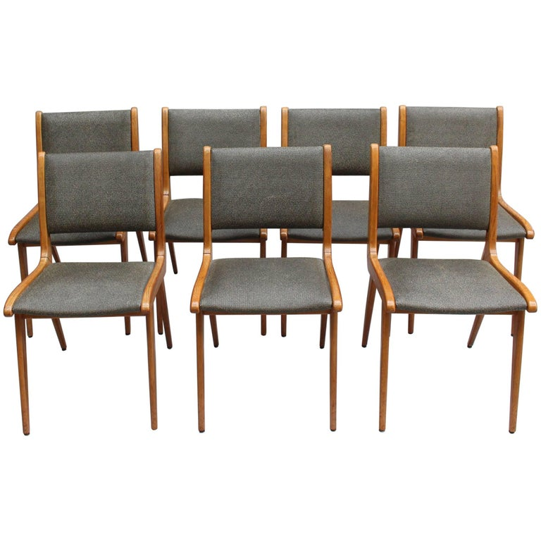 Set of Six French Midcentury Oak Dining Chairs by Maison Roset