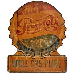 Weathered Pepsi Bottle Cap Advertisement Sign, circa 1960s
