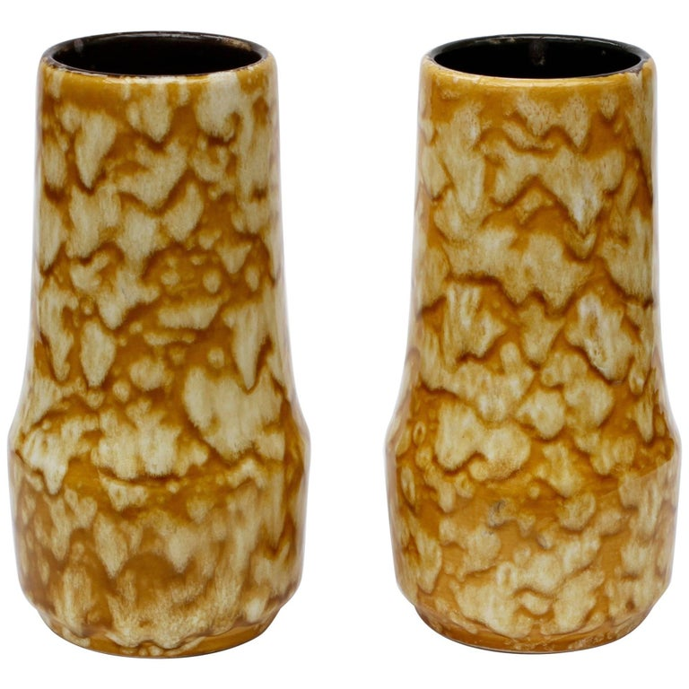 Pair of West German Mid-Century Yellow Lava Glaze Vases by Scheurich, circa 1965 For Sale
