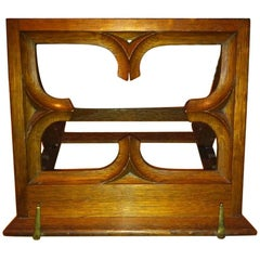 Oak Gothic Revival Adjustable Book or Music Stand with Carved Petal Details