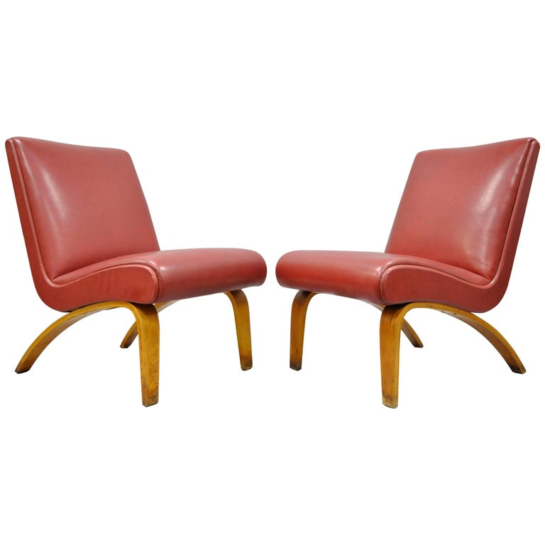 Pair of Vintage Thonet Bentwood Slipper Lounge Club Chairs, Mid-Century Modern