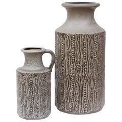 Midcentury Pair of West German Grey Reptile Vases by Dieter Peter for Carstens