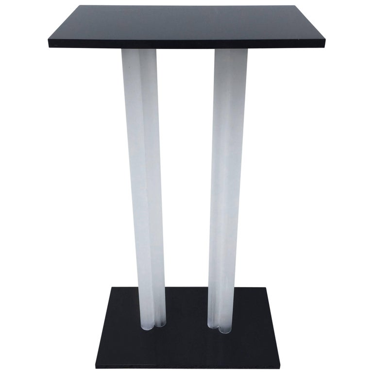 Charles Hollis Jones Style Pedestal Black and Frosted Lucite