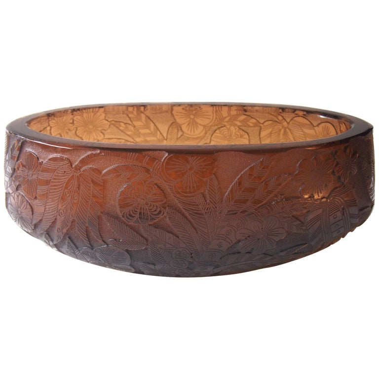 Moser Art Deco 'Sgraffito' Bowl by Heinrich Hussmann