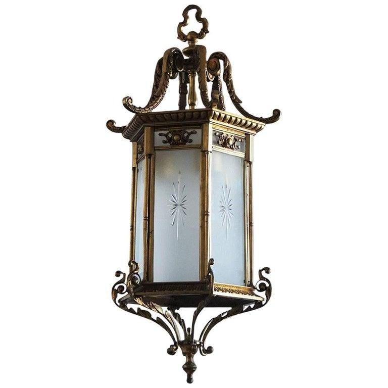 Large 19th Century Regency Style Bronze and Cut Glass  Lantern