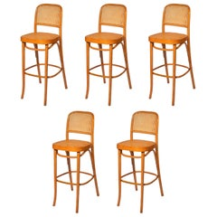 Set of Five Prague Bar Stools by Josef Frank & Josef Hoffmann for MFG, Thonet