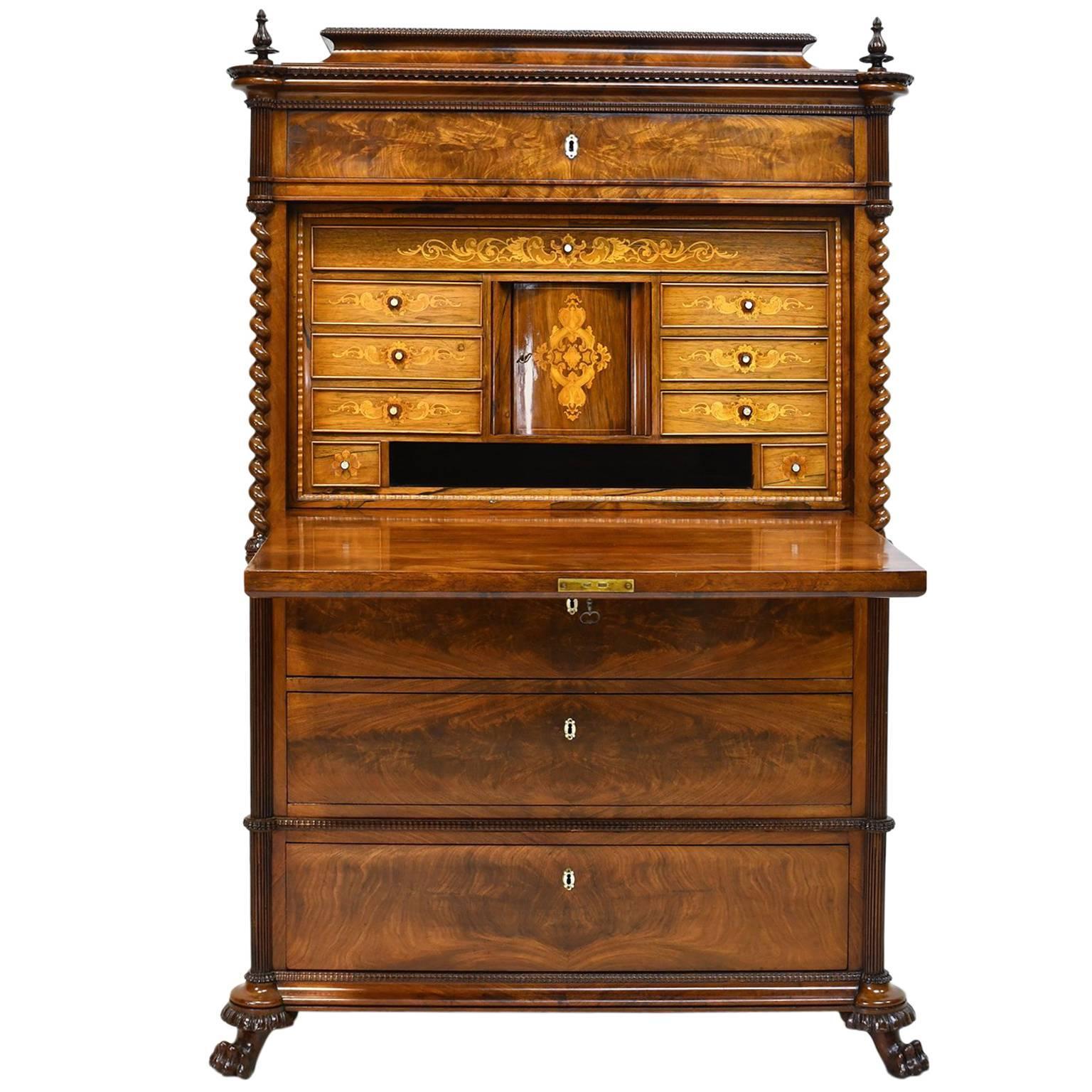 early 19th century danish empire dropfront secretary in cuban mahogany