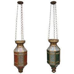 Pair of Vintage Brass and Pressed Glass Moroccan Candle Lanterns