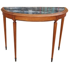 French Black Marble Demilune Console or Entryway Table with Brass Hardware