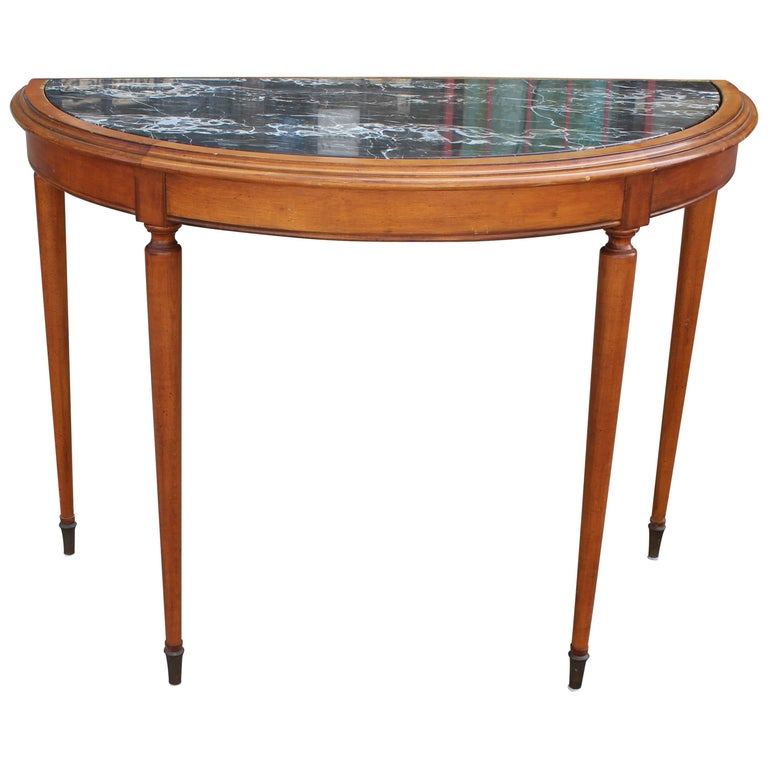 Foyer Table For Sale : French black marble demilune console or entryway table