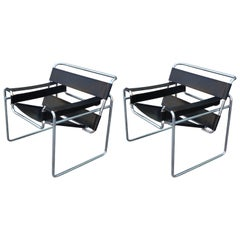 Pair of Modern Black Leather and Chrome Wassily Stendig Style Lounge Chairs